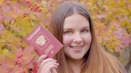 Beautiful woman with russian passport