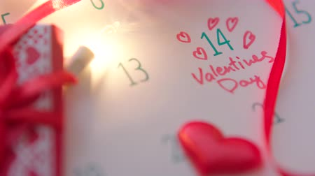 Valentines day in calendar Stock Footage