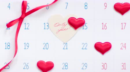 Valentine on the calendar page