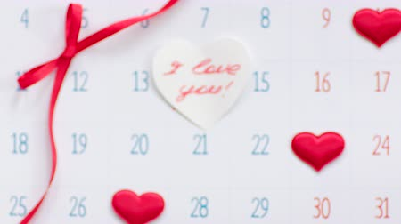 Valentines day on calendar page Stock Footage