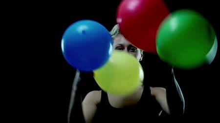 Unique Women Dancing With Balloons Stock Footage