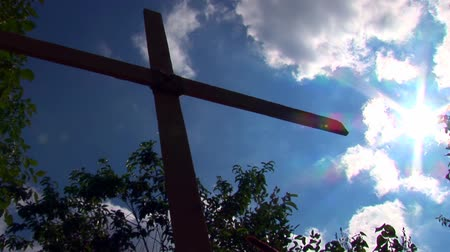 çapraz : Wooden Cross Against Blue Sky Stok Video