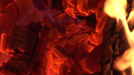 open hearth : Fire With Ember Burning In Furnace Slow Motion Stock Footage