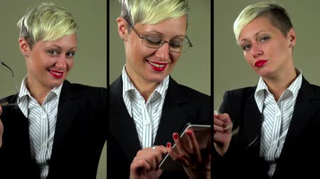 Flirting and sexy businesswoman montage, typing on a digital note pad and flirting with camera