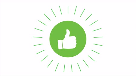 zkreslení : Animation of a cool thumbs like icon with green circle.