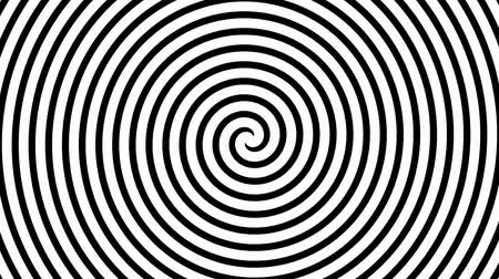 bükülme : Black and white hypnotic spiral illusion background. Stok Video
