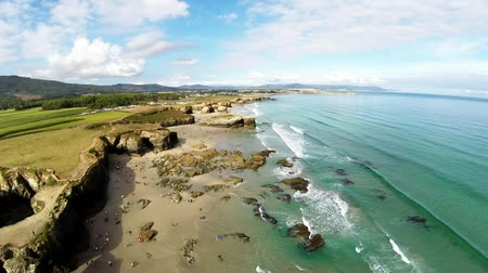 spanyolország : Aerial view of coastline of Galicia - Beautiful beach in the north of Spain