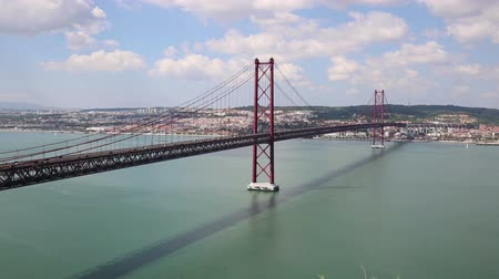 lisboa : View on the 25 de Abril Bridge in Lisbon Portugal.