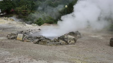 furnas : Hot spring with boiling water at the Caldeiras in the city of Furnas Sao Miguel Island Azores. Stock Footage