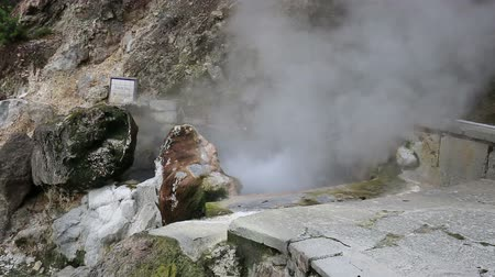 azorean : Hot spring with boiling water at the Caldeiras in the city of Furnas Sao Miguel Island Azores. Stock Footage