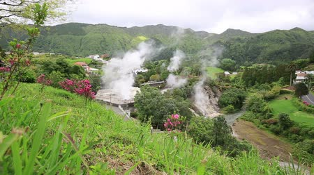 caldeira : Hot spring with boiling water at the Caldeiras in the city of Furnas Sao Miguel Island Azores. Stock Footage
