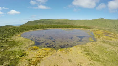 caldeira : Aerial video footage of the lake Branca, volcano in azimuth, Fayal, Portugal
