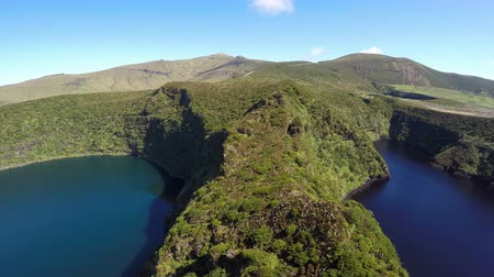 caldeira : Aerial video footage of the calderira negra, Flores island on the volcano in azimuth, Fayal, Portugal