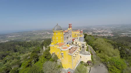 lisboa : Aerial video footage of Pena National Palace in Sintra, Portugal