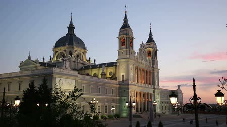 palacio real : Madrid, Spain at La Almudena Cathedral and the Royal Palace.
