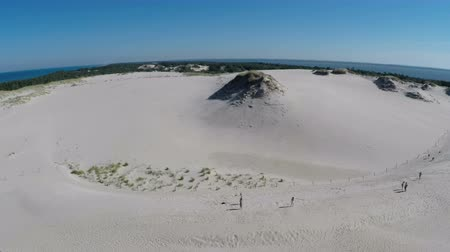 código : Aerial footage of the Slowinski National Park in Poland - mowing dunes