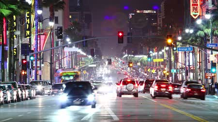 car traffic : Timelapse of Hollywood boulevard traffic at night. LOS ANGELES