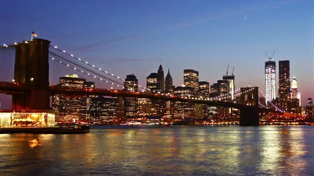 mosty : Manhattan skyline and Brooklyn bridge at night.  Wideo