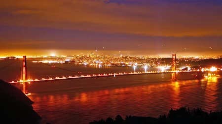 san francisco : Golden Gate bridge at night, time lapse Stock Footage