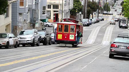 kablo : san francisco cable car at daytime Stok Video
