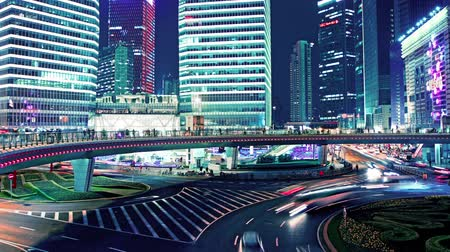 high speed road : the light trails of city traffic in shanghai, china. time lapse Stock Footage