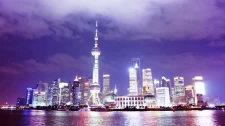 urban skyline : Beautiful Shanghai Pudong skyline at night. time lapse