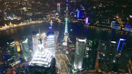 bird's eye view : Birds eye view of Shanghai Pudong at night. time lapse