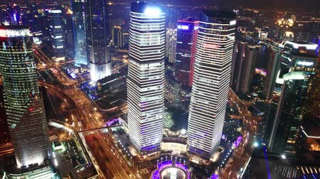 bird's eye view : Birds eye view of Shanghai at night. time lapse