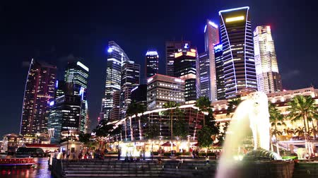 czas : Singapore Skyline at night. time lapse