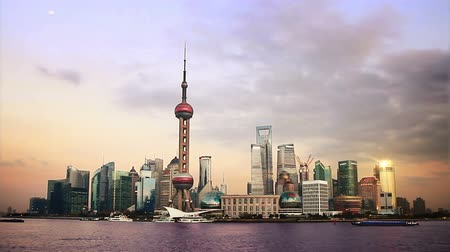 beautiful Shanghai Pudong skyline at sunset. time lapse