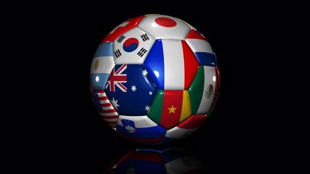 soccer ball with flags on black background. loopable