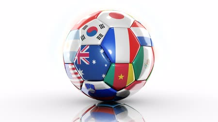 Ball Flags on White background. loopable Stock Footage