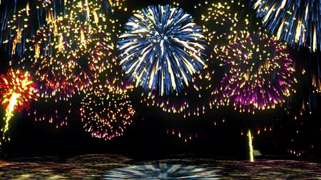 Fireworks over the water. Loop Stock Footage