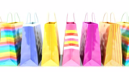 shopping bags on white background. Loopable