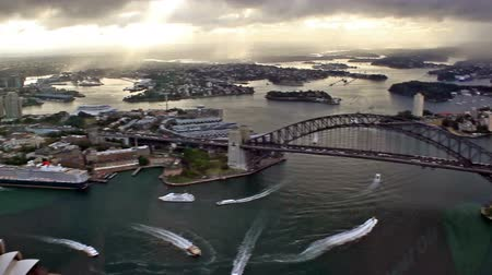 tower bridge : aerial view of the Sydney city at sunset, Australia