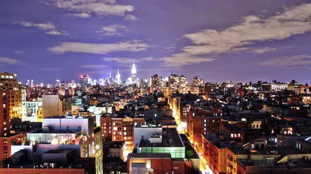 night : New York skyline at night, time lapse