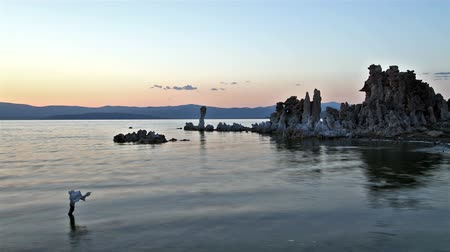 Mono Lake panorama at sunset, time lapse Stock Footage