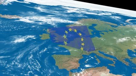 território : A flight over the earth to Europe and an EU flag.