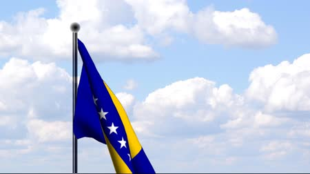 herzegovina : An animated flag of Bosnia and Herzegovina with clouds in the background. The flag is hoisted.