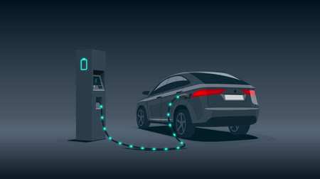 recharging : Electric car charging at charger station during night low demand off-peak electricity. Objects and shadows as separate alpha channel on white chroma key background ease to replace. Cartoon animation.