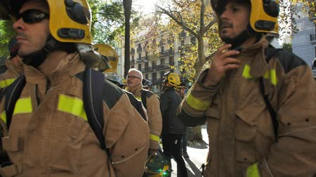 BARCELONA, SPAIN, 12.20.2018: A firefighters strike against violation of workers rights