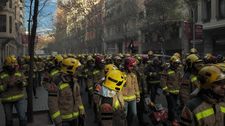 injustice : BARCELONA, SPAIN, 12.20.2018: A firefighters strike against violation of workers rights