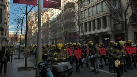 social inequality : BARCELONA, SPAIN, 12.20.2018: A firefighters strike against violation of workers rights