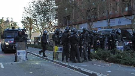 clash : Barcelona, Spain 12.21.2018 : Catalan nationalist uprising against the government and police of Spain in Barcelona
