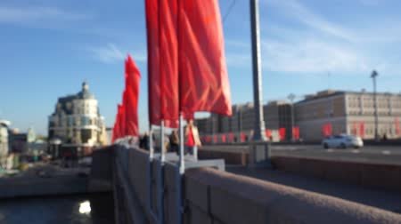 People is walking on the bridge in Moscow Stock Footage