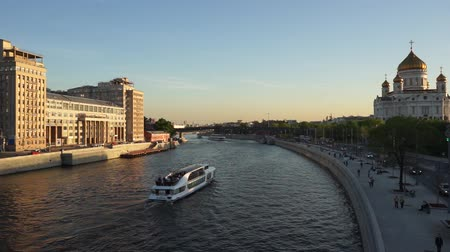 Moscow city river view Stock Footage