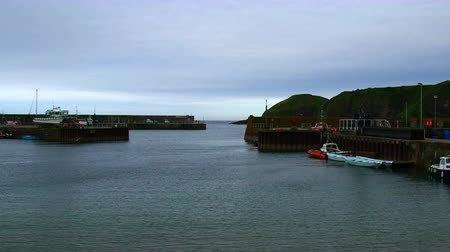 rhodes : August 2017: Safe boats in a small northern port of Scotland. August 2017 in Stonehaven Stock Footage