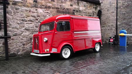citroen : August 2017: French red van Citroen Type H, used inside Edinburgh Castle. August 2017 in Edimburgh