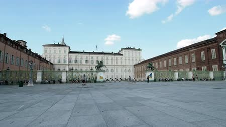 emanuele : August 2018: Entrance of the Royal Palace From the side of the Royal Square with the wide gate. We are in the late afternoon. August 2018 in Turin
