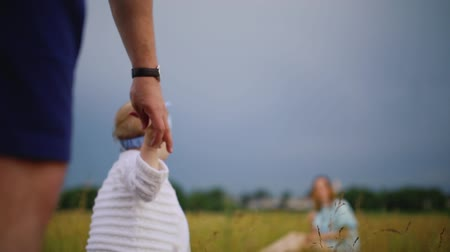 babygirl : father helping his daughter to take first step of life Stock Footage